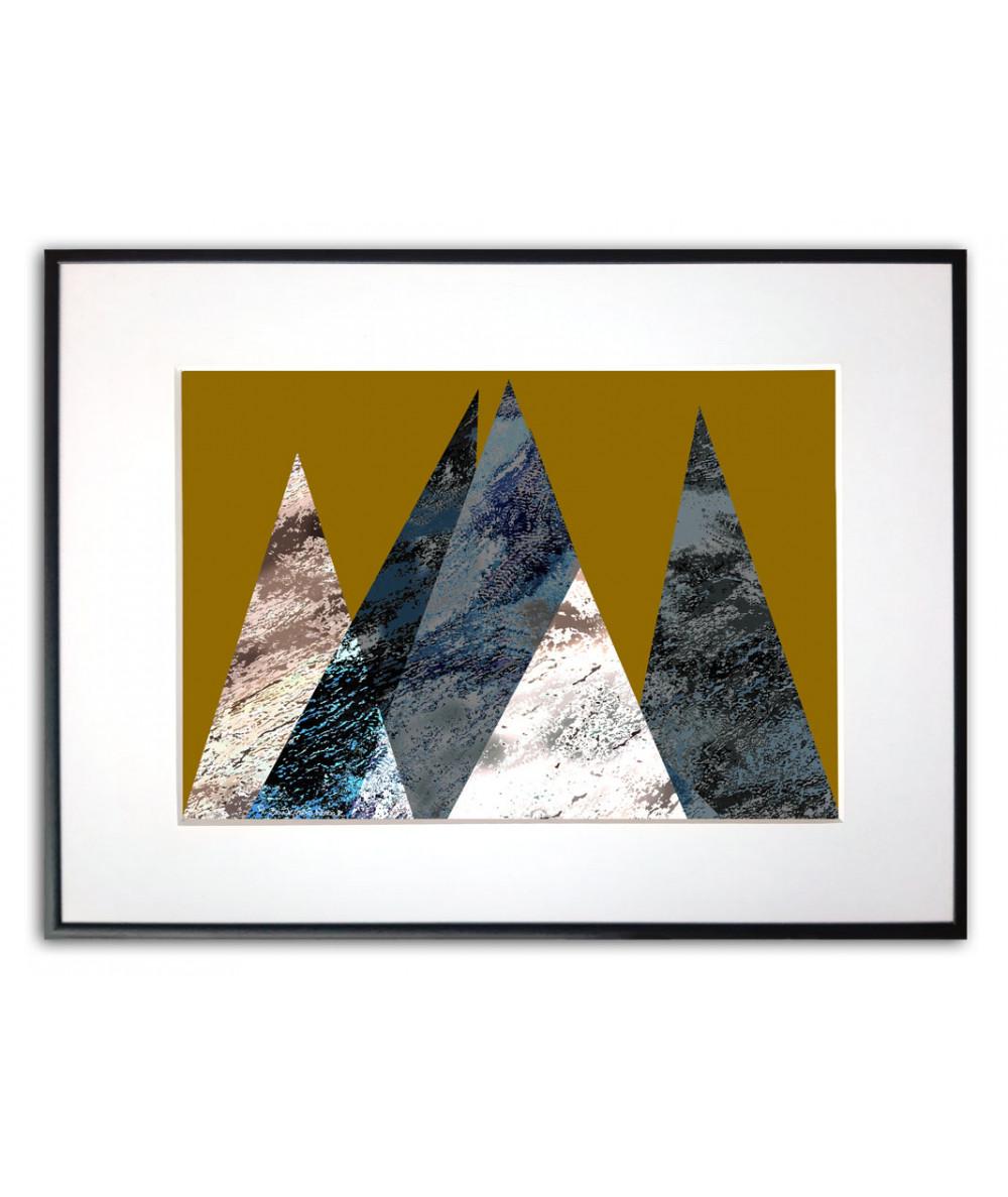 Plakat z górami na ścianę Góry na złotym tle