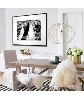 Plakat nowoczesny czarno biały Mgła w górach - Grafiki Obrazy