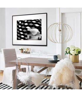 Czarno biały plakat geometryczny Góry - Grafiki Obrazy