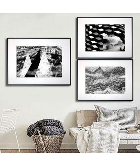 Plakat góry tryptyk czarno biały - Grafiki Obrazy