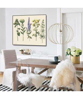 Plakat zioła na ścianie w salonie