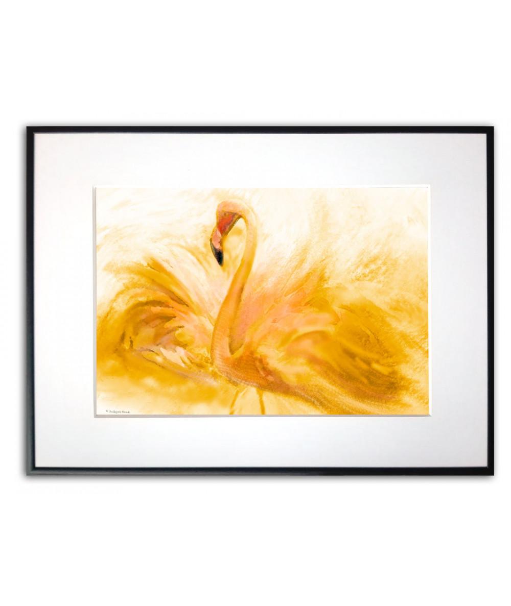 Obrazy zwierząt - PLAKAT NA ŚCIANĘ - PLAKAT FLAMING NA ŚCIANĘ - FLAMING AKWARELA ZŁOTY