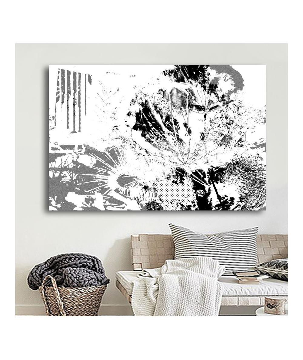 Obrazy czarno białe - Nowoczesny obraz Dmuchawce grafika (1-częściowy)