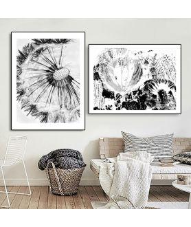 Obrazy czarno białe - PLAKAT NA ŚCIANĘ - SREBRNE DMUCHAWCE