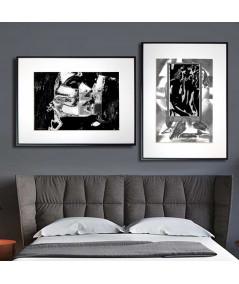 Plakaty o miłości do sypialni zestaw czarno biały - Grafiki Obrazy