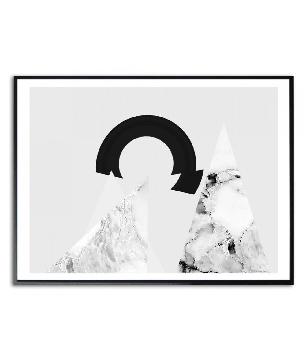 Plakat czarno biały abstrakcja Wędrowanie do słońca czarno białe
