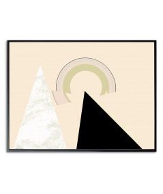 Plakat beżowy abstrakcja geometryczna Słońce w górach
