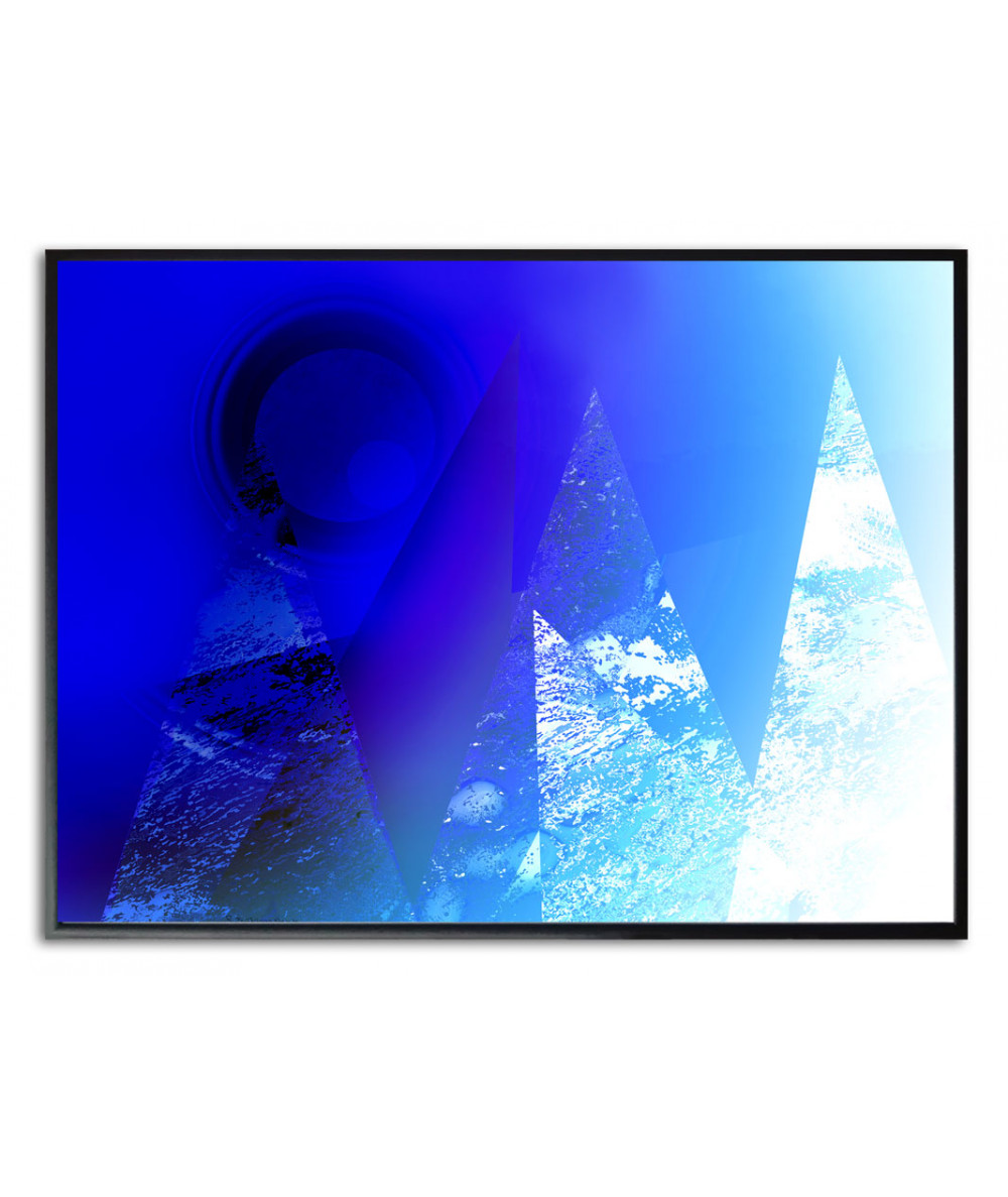 Plakat nowoczesny niebieski Góry na tle nieba