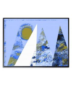 Plakat niebieski z górami Góry na tle nieba