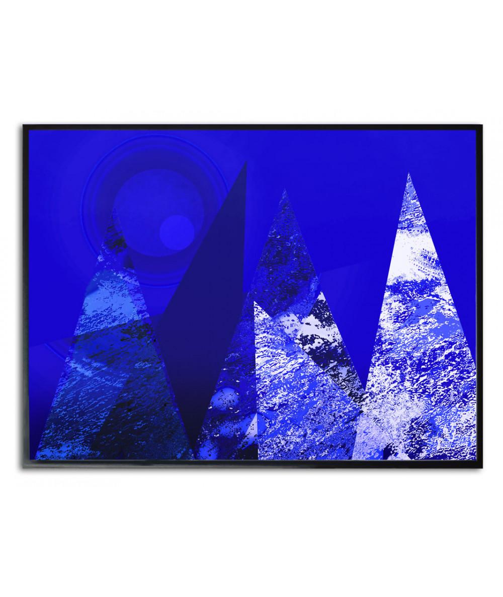 Granatowy plakat góry Krajobraz z księżycem