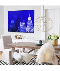 Granatowy plakat góry Krajobraz z księżycem - Grafiki Obrazy