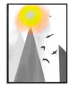 Plakat artystyczny góry na ścianę Wysoko w górach