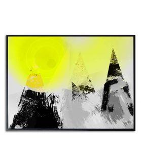 Plakat czarno biały z kolorem Słońce na szczytach gór