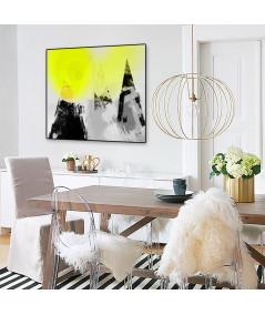 Plakat czarno biały z kolorem Słońce na szczytach gór - Grafiki Obrazy
