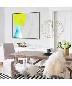 Plakat czarno-biały z kolorem Turkusowa góra do salonu - Grafiki Obrazy