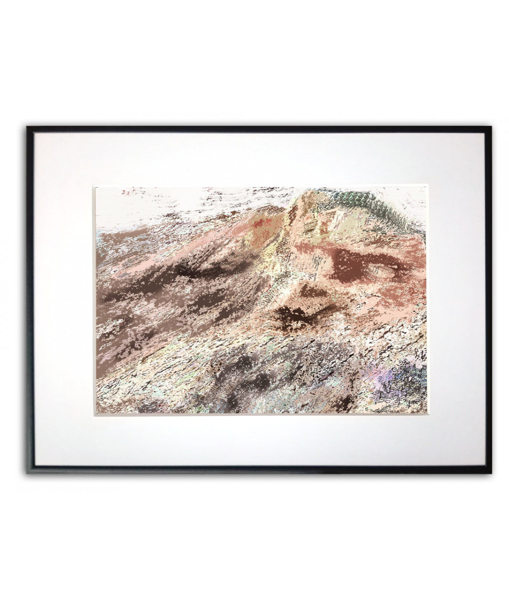 Plakat górski z grafiką Góra i słońce
