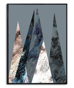 Plakat z górami nowoczesny Góry na srebrym tle