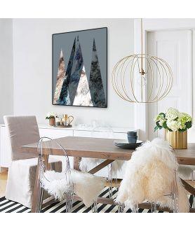 Plakat z górami nowoczesny Góry na srebrym tle - Grafiki Obrazy