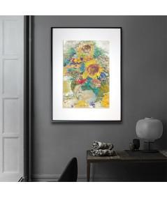 Obrazy kwiaty - Kwiaty w wazonie obraz Chabry i słoneczniki