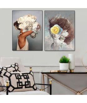Grafiki obrazy plakaty - PLAKAT NA ŚCIANĘ - KOBIETA Z ŻÓŁTĄ RÓŻĄ - DOLCE