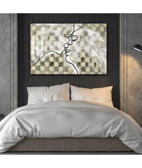 Obraz do sypialni pocałunek Miłosna gra (1-częściowy) szeroki