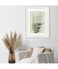 Plakat na ścianę w ramie białej z listwą w kolorze szampańskim