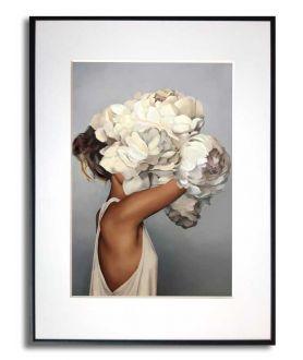 Obrazy kobieta - PLAKAT NA ŚCIANĘ - PORTRET Z KWIATAMI - KOBIETA AMY