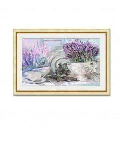 obrazy kwiaty - Obraz do jadalni Lawendowy stół (1-częściowy) szeroki
