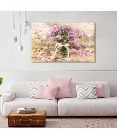obrazy kwiaty - Obraz różowe kwiaty Powojnik i różowe niezapominajki w słoju