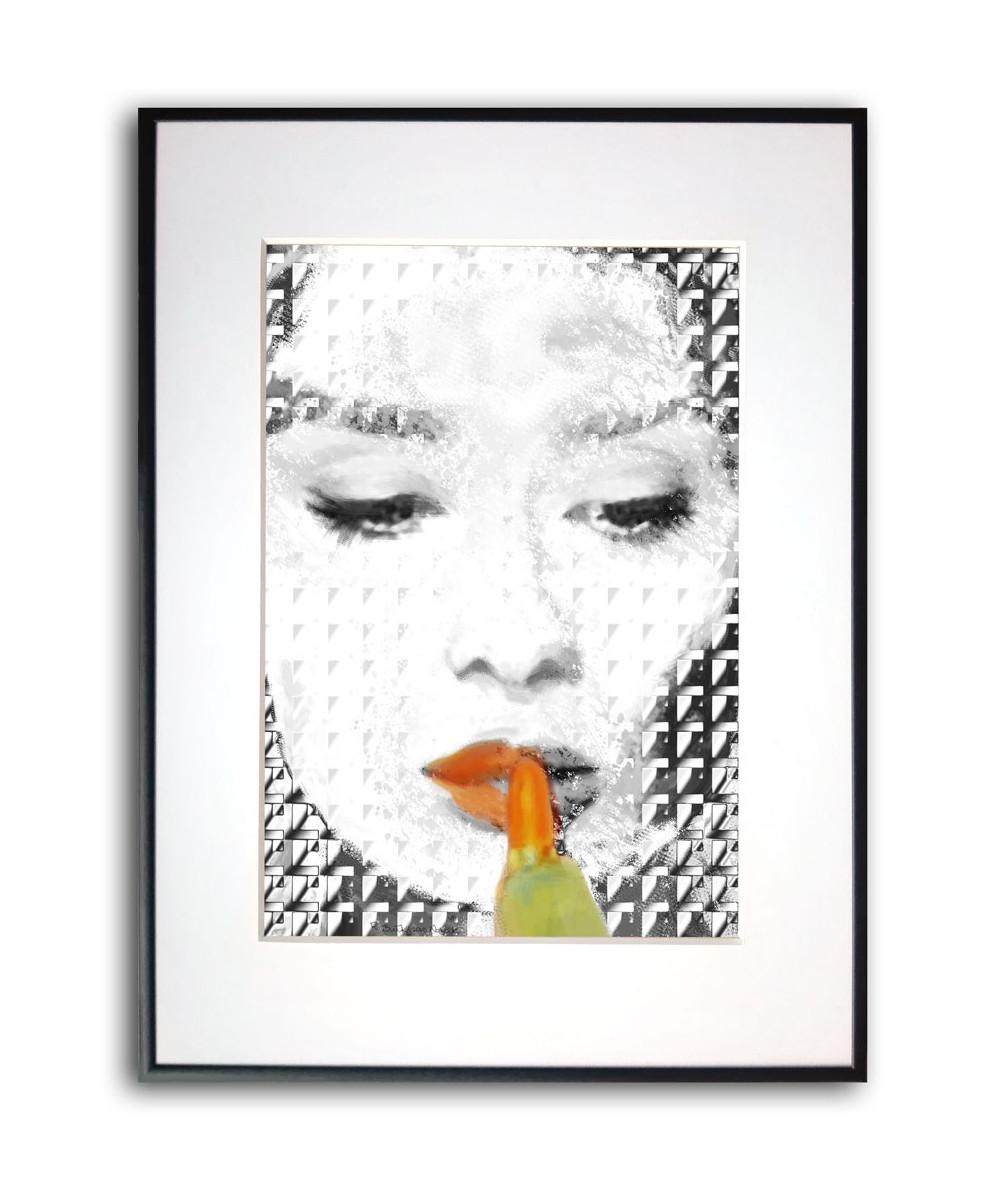 Plakat z Audrey Hepburn w ramie Orange black Audrey