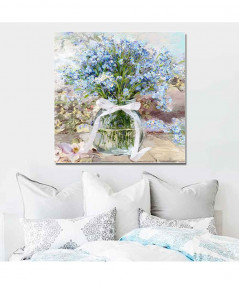 Obrazy kwiaty - Obraz Niezapominajki w słoju (1-częściowy) kwadrat
