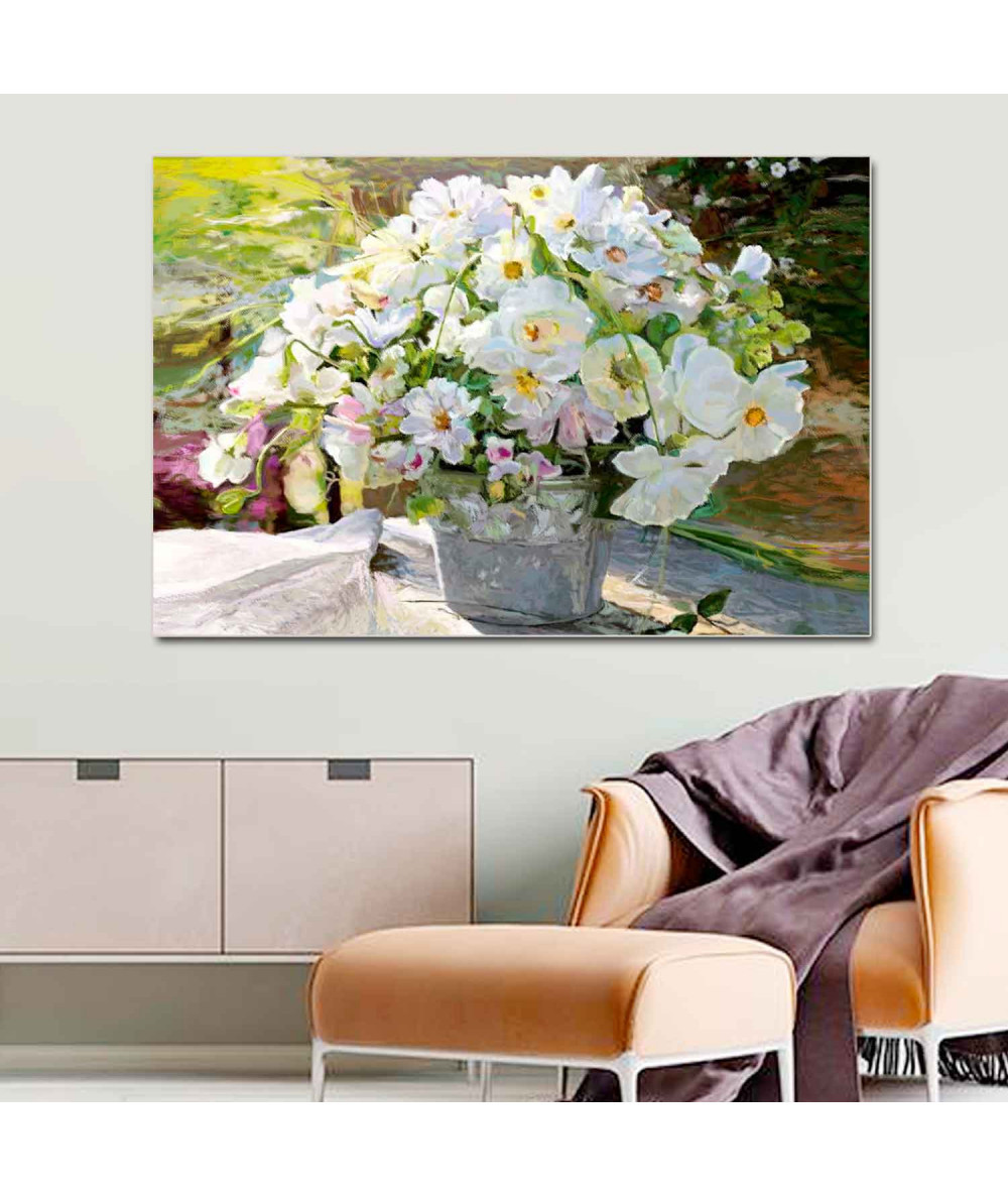 obrazy kwiaty Białe kwiaty obraz Bukiet białych kwiatów