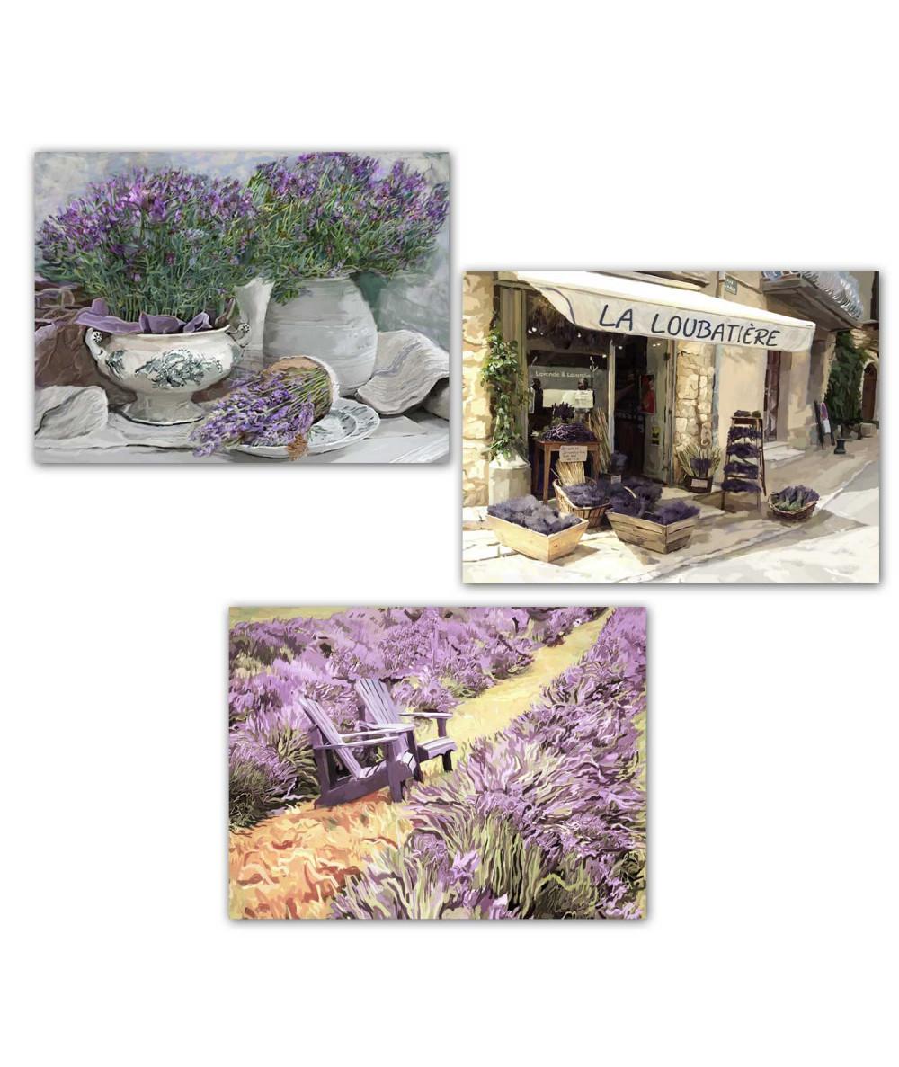 obrazy kwiaty Obraz Tryptyk lawenda, obrazy tryptyki do salonu