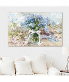 Obrazy kwiaty - Obraz kwiaty Powojnik i niezapominajki w słoju