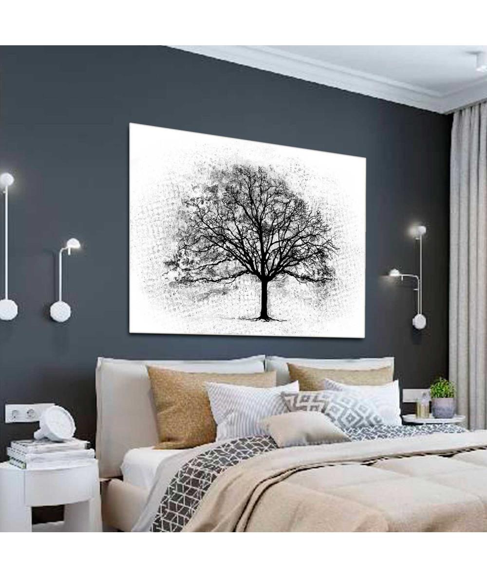 Obrazy czarno białe - Obrazy grafiki czarno białe Czarne drzewo (1-częściowy) szeroki