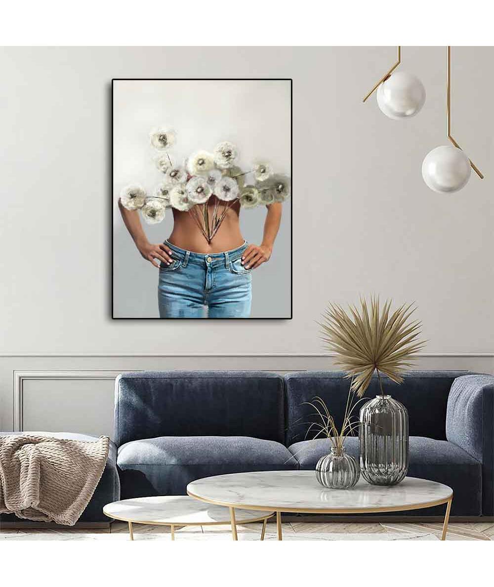 Plakat na ścianę kobieta kwiat dmuchawca - zamów w Grafiki Obrazy