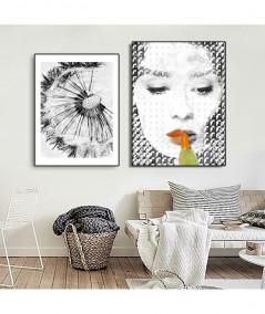 PLAKAT NA ŚCIANĘ - GRAFIKA W RAMIE - ORANGE BLACK AUDREY