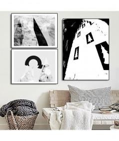Plakaty góry grafiki czarno białe zestaw - Grafiki Obrazy