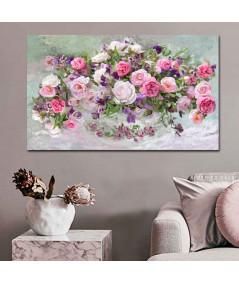 Obrazy kwiaty - Obraz kwiaty Róże w wazonie (1-częściowy) szeroki