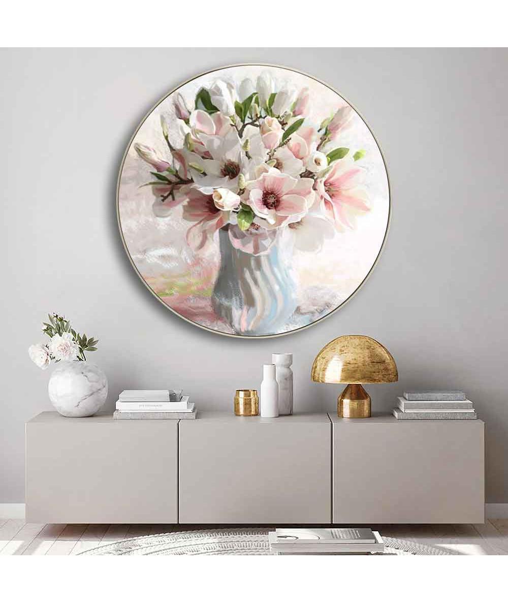 Okrągłe obrazy - Okrągły obraz na płótnie - Magnolie w wazonie