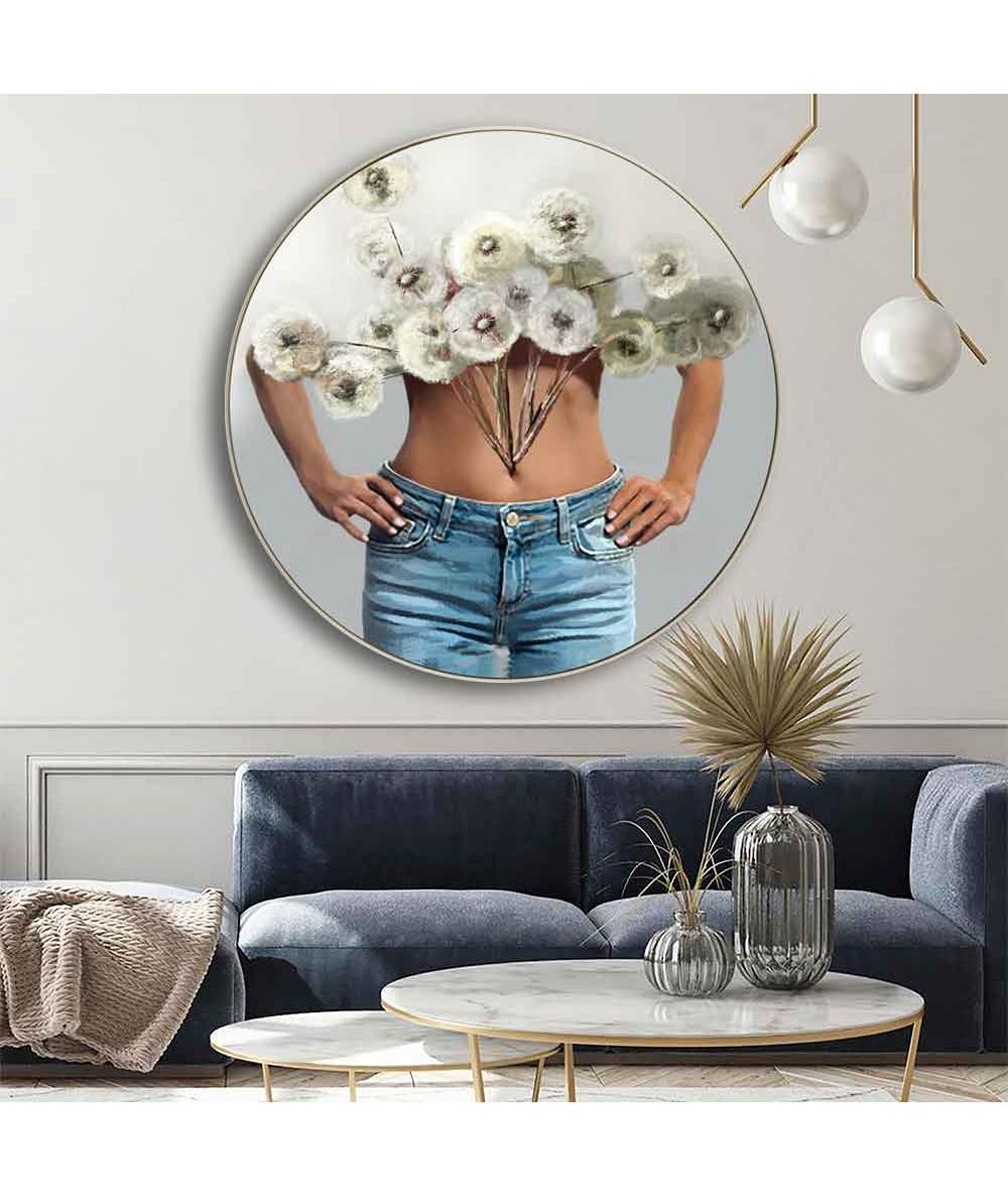 Okrągłe obrazy - Okrągły obraz na płótnie - Kobieta z kwiatami dmuchawców