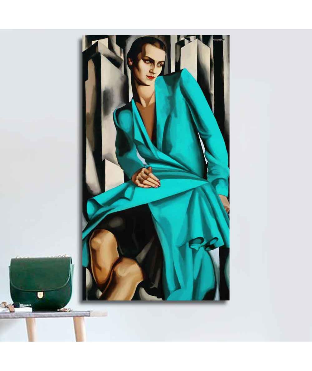 Grafiki obrazy plakaty - Obraz na płótnie - Łempicka reprodukcja - Kobieta w turkusie