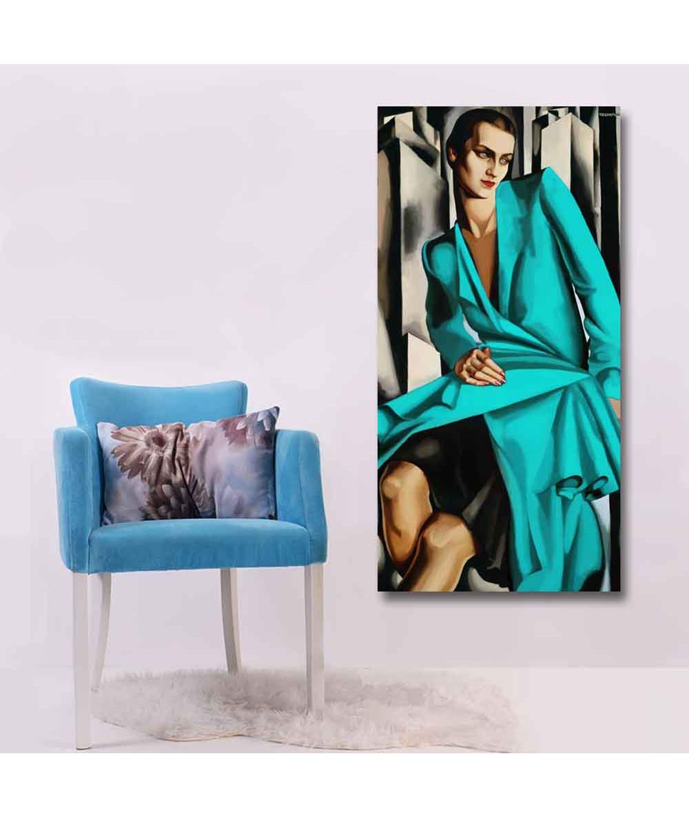 Grafiki obrazy plakaty - Obraz na płótnie - Łempicka - Kobieta w turkusie