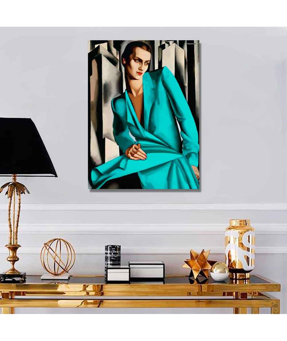 Grafiki obrazy plakaty - Obraz na płótnie - Reprodukcja Łempicka - Kobieta w turkusie