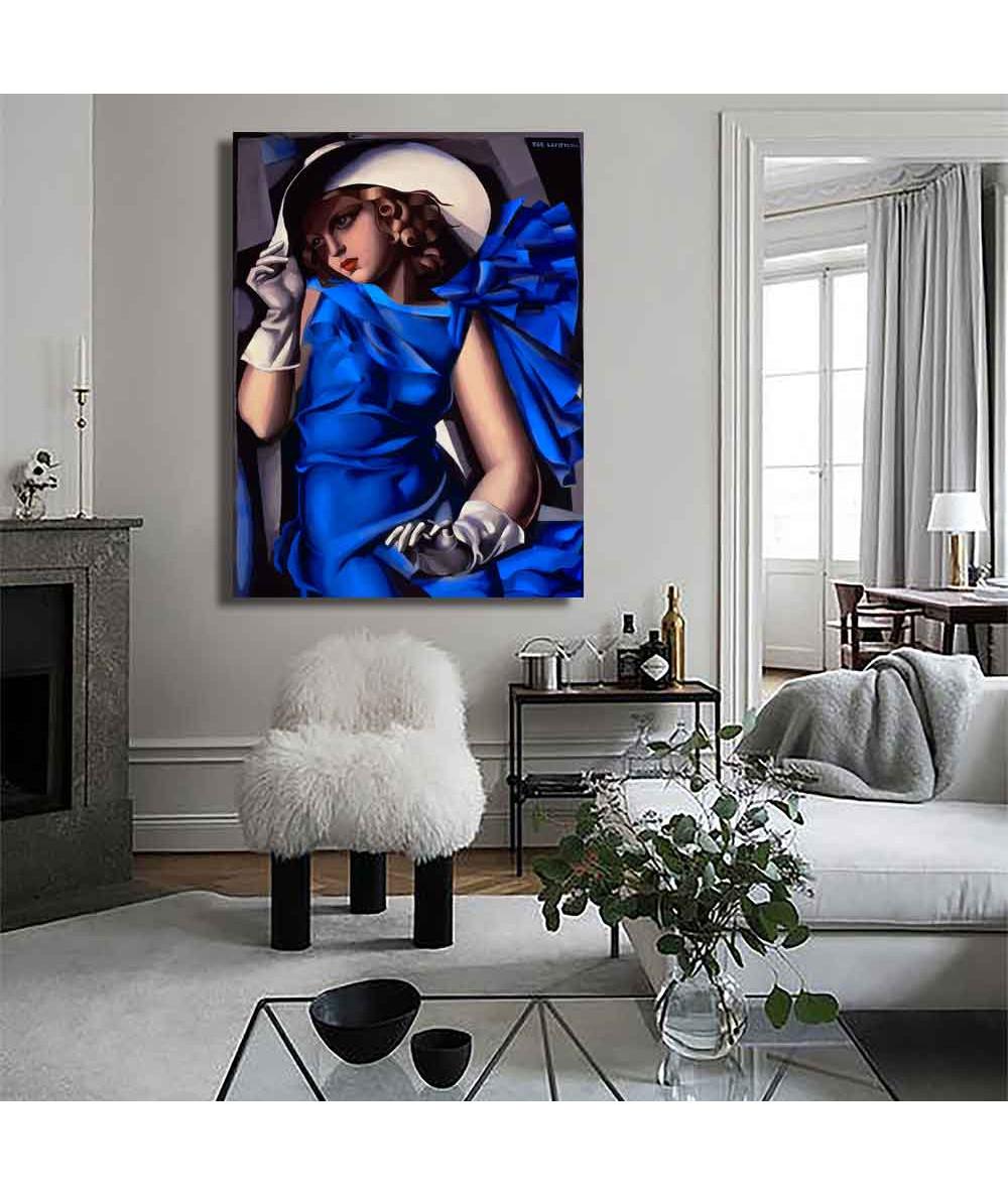 Grafiki obrazy plakaty - Obraz reprodukcja na płótnie - Łempicka - Kobieta w niebieskiej sukni