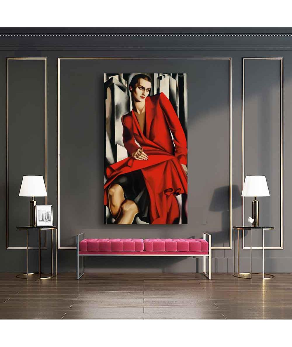Grafiki obrazy plakaty - Obraz reprodukcja - Tamara Łempicka - Kobieta w czerwieni