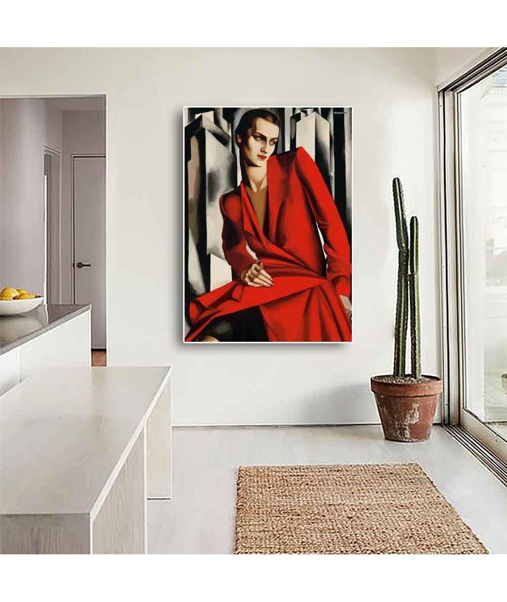 Grafiki obrazy plakaty - Obraz na płótnie - Łempicka - Kobieta w czerwieni