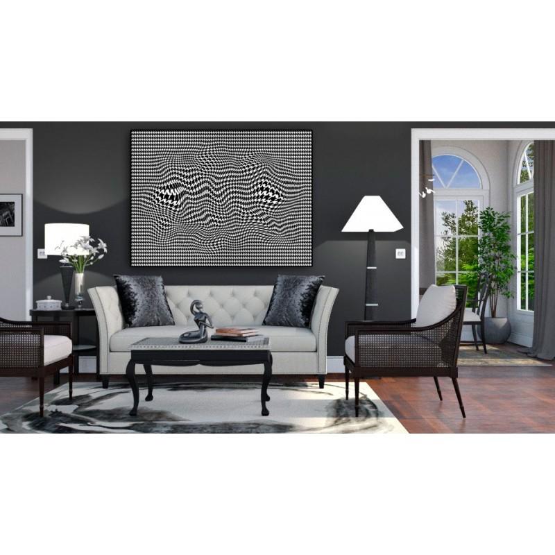 Obrazy 3d - Obraz nowoczesny czarno biały 3d Pepitka flow