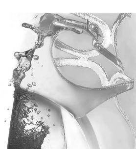 Obraz czarno biały do salonu z kieliszkiem i butem