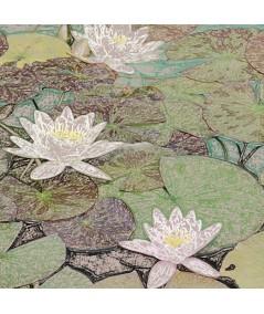 Obraz na płótnie Obraz kwiaty Lilie na wodzie (1-częściowy) szeroki